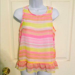 Girls Striped Yellow & Pink Tank Top Size 16 XL